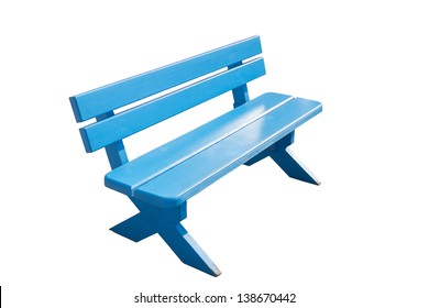 Vintage blue wooden bench isolated on white background