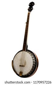 Vintage bluegrass banjo isolated on white background