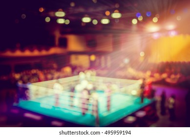 vintage blur boxing ring with spot light.