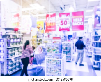 Vintage blurred abstract store closing sale clearance at toys retailer in America.