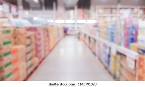 Vintage blurred supermaket with colorful shelves usage background.