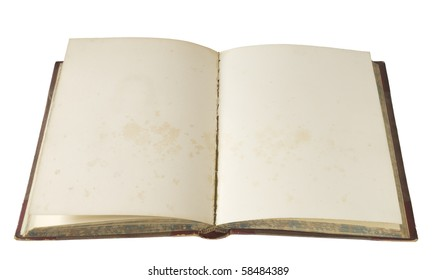 vintage book, blank pages, isolated on white background, free copy space