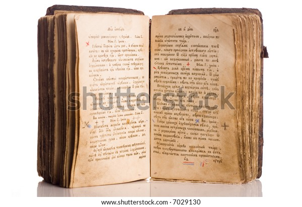 Vintage book open isolated on white