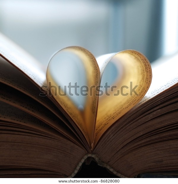 Vintage book pages, heart shaped