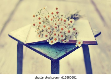 Vintage books with bouquet of field flowers/ nostalgic summer background