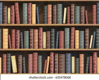 Vintage books on bookshelf. Old books tiled seamless texture background (vertically and horizontally). 3d illustration.