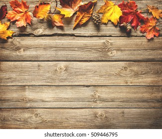 Vintage border from fallen leaves and fruits on the old wooden table. Thanksgiving autumnal background