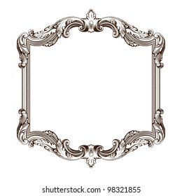vintage border  frame engraving  with retro ornament pattern in antique rococo style decorative design  isolated on white