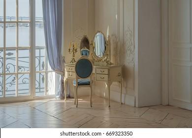 Vintage boudoir luxury clean bright white bedroom interior