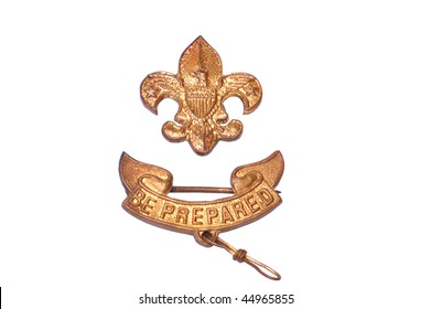 Vintage Boy Scouts of America Badge isolated on white