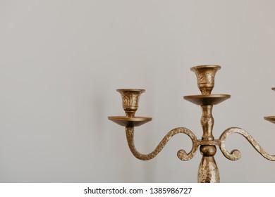 vintage brass candelabrum close up view - Image