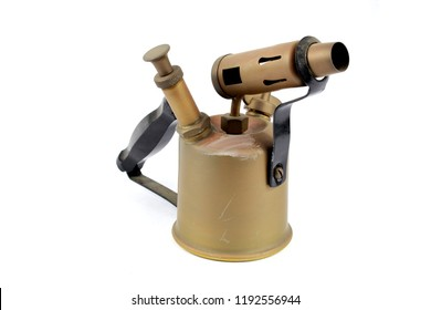Vintage Brass Fire Blowtorch Flame Thrower On White Background