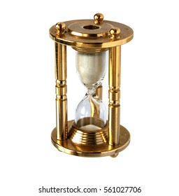 Vintage brass hourglass isolated on a white background