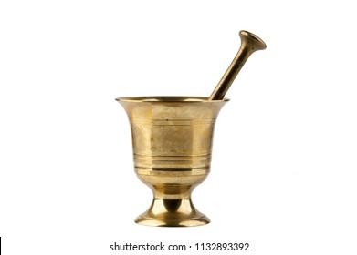 Vintage brass mortar with pestle isolated