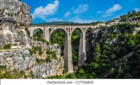 Vintage brick bridge between hills. Old railway bridge. It called Varda. Adana province in Turkey.