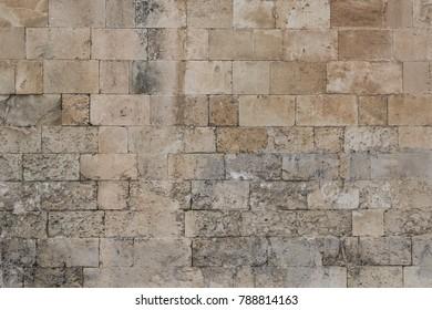 vintage brick stone wall closeup