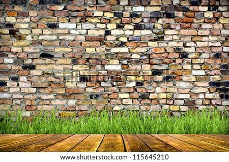 Vintage Brick Wall Wood Floor Background Stock Photo Edit Now