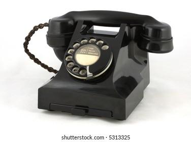 Vintage British Telephone on White Background
