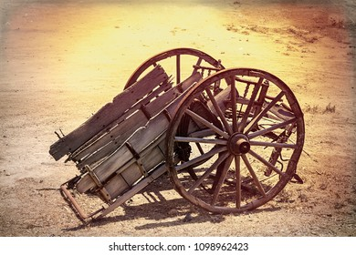 Vintage Broken Down Horse Carriage. Isolated. Stock Image.