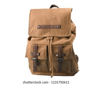 Vintage brown backpack with isolated background