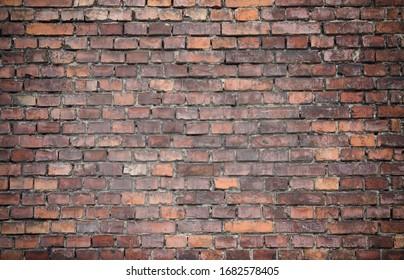 Vintage brown brick wall texture background