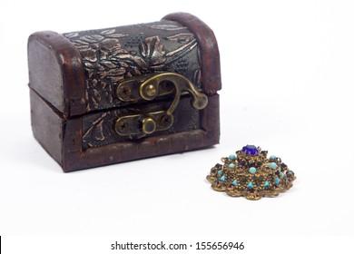 Vintage brown case with treasure