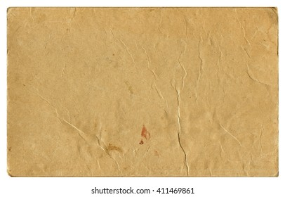 Vintage brown damaged paper blank isolated on white background. Old texture for design.