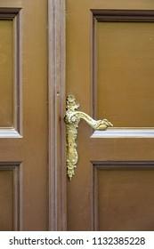 Vintage brown door with classical handle   - european style