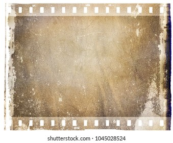 Vintage brown film strip frame with leather surface.