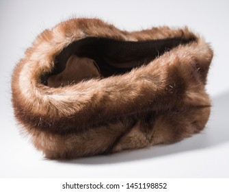 Vintage brown fur hat on top