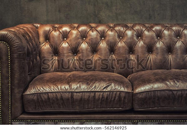 Pleasant Vintage Brown Leather Sofa Grunge Gray Stock Photo Edit Now Gmtry Best Dining Table And Chair Ideas Images Gmtryco