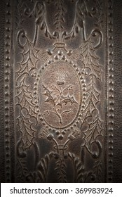 Vintage brown  leather texture closeup , for over a century furniture