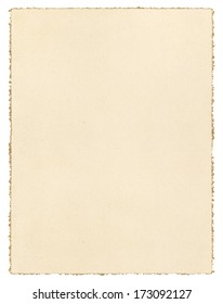 Beautiful Vintage Brown Paper Isolated On White With A Decorative Deckled Edge.