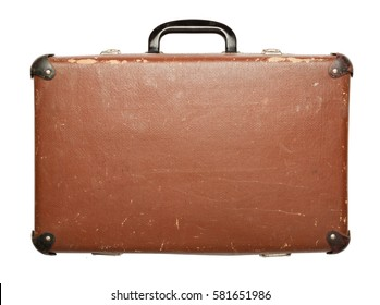 Vintage brown suitcase isolated on white background