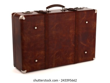 Vintage brown suitcase on white background. Computer generated image.