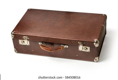Vintage brown suitcase on white background with clipping path