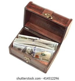 Vintage Brown Wood Box With American Dollar Cash Isolated On White Background, Top View, Close Up