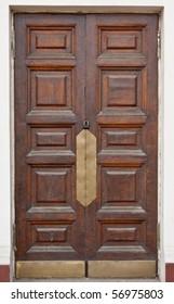 Vintage brown wooden door close-up