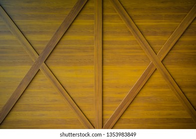 Vintage brown wooden wall background. Wood plank with cross line or saltire  texture.