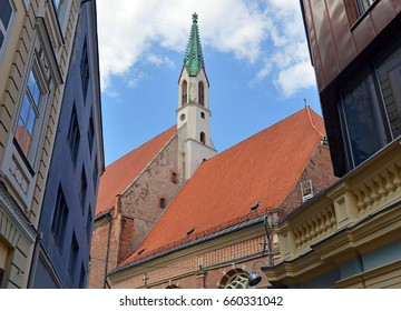 Vintage buildings illustrating Art Nouveau Architecture in medieval Old Town in Riga Latvia, a country once part of Soviet Union, Germany and the United Kingdom at various points in time.