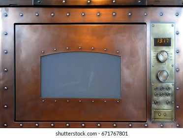 Vintage built-in copper microwave over frontal