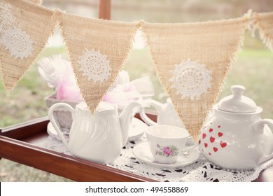 vintage bunting and tea set, Alice in wonderland Mad Hatters tea party, toning
