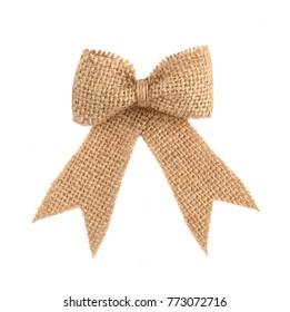 Vintage burlap ribbon bow isolated on white background