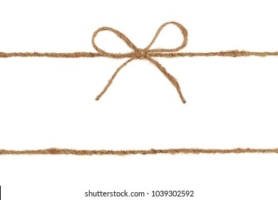 Vintage burlap rope bow isolated on white background