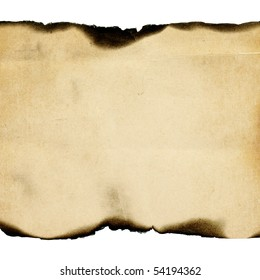 Vintage burned paper background, isolated on white, center composition.