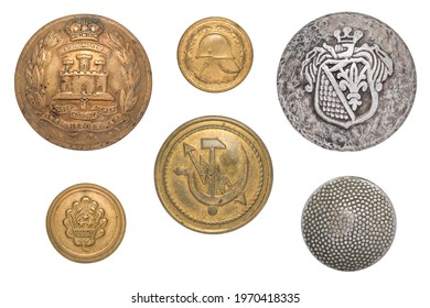 Vintage buttons isolated: British army suffolk regiment soldier's brass Gibraltar, Latvian Military, USSR communication ministry sickle hammer lightning, German tunic WW2, fireman small button.