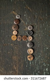 Vintage Buttons in the Number 4