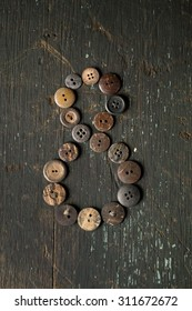 Vintage Buttons in the Number eight