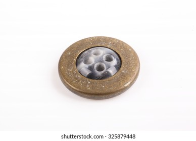 vintage buttons on white background