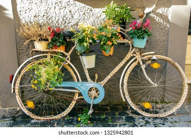 vintage bycicle decorated with plant pots